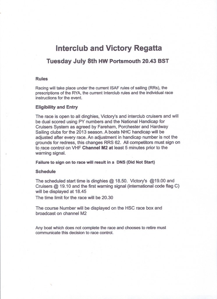 Interclub & Victory Regatta