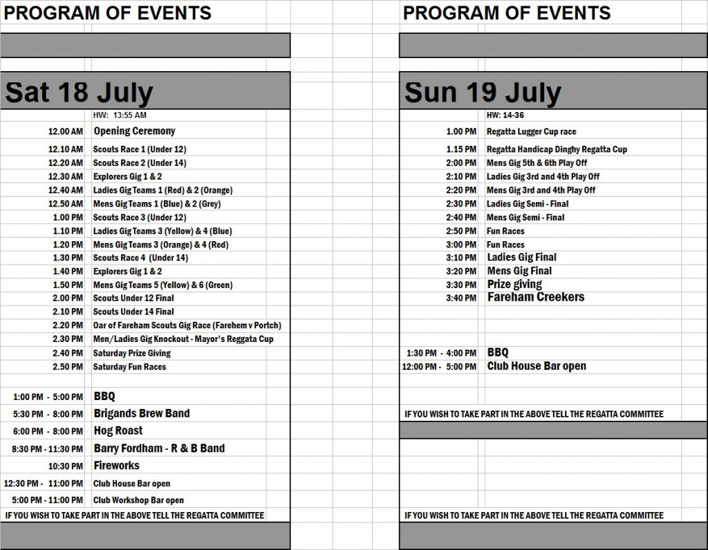 FCR Updated Program of Events 2015