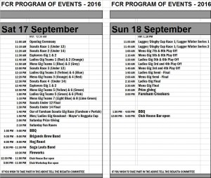 FCR Program of events