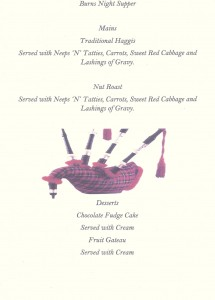Burns Night Menu 2017